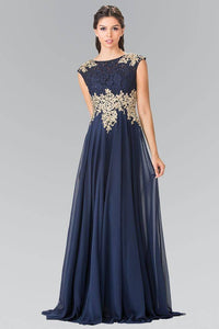 Elizabeth K GL2228 Lace Embroidered Top and Chiffon Long Sheer Dress in Navy - SohoGirl.com