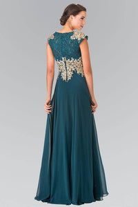 Elizabeth K GL2228 Lace Embroidered Top and Chiffon Long Sheer Dress in Teal - SohoGirl.com