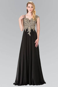 Elizabeth K GL2229 Gold Embroidered Bodice Chiffon Dress with Sheer Back in Black
