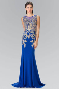 Elizabeth K GL2230 Long Jersey Dress With Sheer Embroidered Bodice in Royal Blue