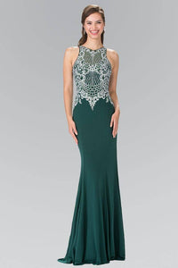 Elizabeth K GL2232 Vertical Embroidered Illusion Sweetheart Jersey Dress in Green