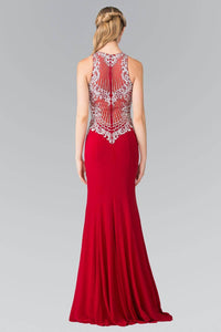 Elizabeth K GL2232 Vertical Embroidered Illusion Sweetheart Jersey Dress in Red
