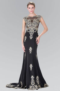 Elizabeth K GL2233 Bead Embellished Butterfly Embroidered Short Sleeve Long Dress in Black
