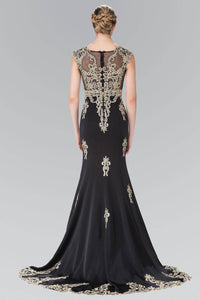 Elizabeth K GL2233 Bead Embellished Butterfly Embroidered Short Sleeve Long Dress in Black - SohoGirl.com