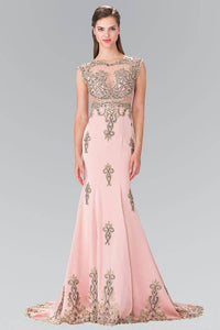 Elizabeth K GL2233 Bead Embellished Butterfly Embroidered Short Sleeve Long Dress in Dusty Rose - SohoGirl.com