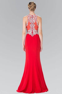 Elizabeth K GL2236 High Neck Silver Embroidered Bodice Long Dress in Red