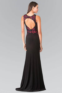 Elizabeth K GL2238 Beaded Floral Embroidery Cut Out Back Long Dress in Black - SohoGirl.com
