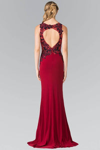 Elizabeth K GL2238 Beaded Floral Embroidery Cut Out Back Long Dress in Burgundy