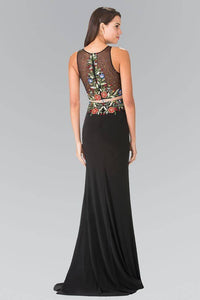 Elizabeth K GL2241 Mock Two Piece High Neck Floral Embroidery Long Dress in Black