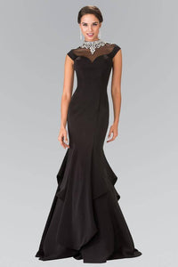 Elizabeth K GL2242 Stone Accented Beaded Illusion Sweetheart Layered Mermaid Dress in Black