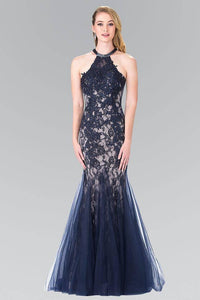 Elizabeth K GL2243 Embroidery Beaded Lace and Tulle Long Dress in Navy