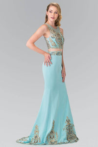 Elizabeth K GL2248 Royal Embroidery Mock Two Piece Long Dress in Blue - SohoGirl.com