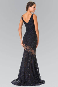 Elizabeth K GL2249 Asymmetrical Lace Illusion V Neck Long Gown in Navy