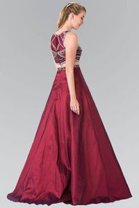 Elizabeth K GL2250 Beaded Mock Two Piece Princess Gown in Burgundy