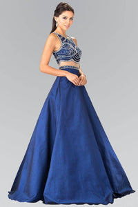 Elizabeth K GL2250 Beaded Mock Two Piece Princess Gown in Navy - SohoGirl.com