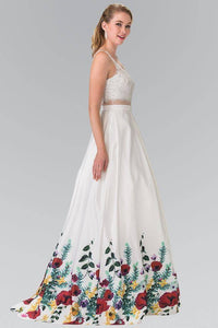 Elizabeth K GL2251 Embroidered Mock Two Piece Floral Print A Line Dress in White - pallawashop.com