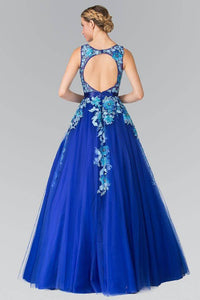 Elizabeth K GL2252 Embroidered Sheer Tulle Ball Gown with Open Back in Royal Blue - SohoGirl.com