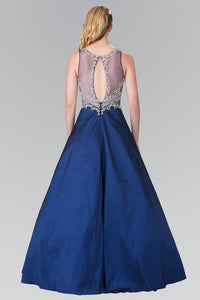 Elizabeth K GL2253 Full Beaded Bodice with Sheer Cut Out Long Dress in Navy - SohoGirl.com