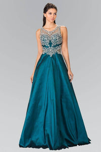 Elizabeth K GL2253 Full Beaded Bodice with Sheer Cut Out Long Dress in Teal - pallawashop.com