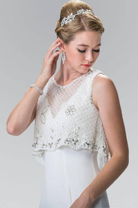 Elizabeth K GL2257 V Neck Long Dress with Detachable Beaded Lace Top in White