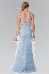 Elizabeth K GL2258 Mesh Tiered Lace Long Dress with Open Back in Blue - SohoGirl.com