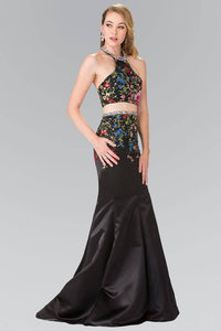 Elizabeth K GL2260 Multicolor Embroidered Two Piece Halter Satin Dress in Black - SohoGirl.com