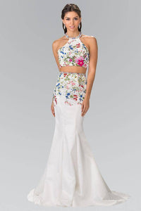 Elizabeth K GL2260 Multicolor Embroidered Two Piece Halter Satin Dress in White