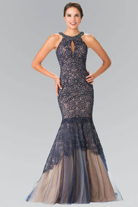 Elizabeth K GL2262 Embroidered Tulle Halter Mermaid Long Dress in Navy - SohoGirl.com