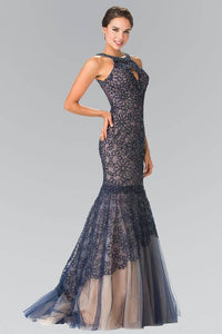 Elizabeth K GL2262 Embroidered Tulle Halter Mermaid Long Dress in Navy