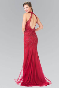 Elizabeth K GL2263 Beaded Sunray Tulle Long Dress in Burgundy - SohoGirl.com