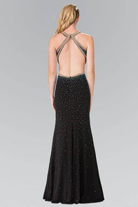 Elizabeth K GL2265 Gradient Beaded HIgh Neck Side Slit Dress in Black - SohoGirl.com