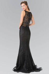 Elizabeth K GL2268 Lace Floral Sequin Embellished Sheer Back Dress in Black - SohoGirl.com