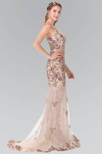 Elizabeth K GL2269 Embroidered Paisley Dress Lace Dress in Champagne - SohoGirl.com