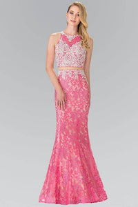 Elizabeth K GL2271 Contrast Studded Lace Overlay Mock Two Piece in Pink