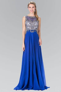 Elizabeth K GL2273 Beaded Bodice Chiffon Draped Gown in Royal Blue