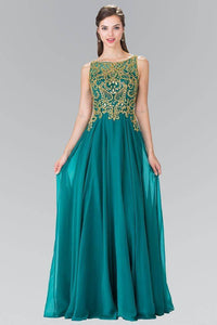 Elizabeth K GL2274 Beaded and Embellished Chiffon Overlay Gown in Green