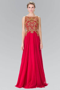 Elizabeth K GL2274 Beaded and Embellished Chiffon Overlay Gown in Red - SohoGirl.com