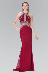 Elizabeth K GL2275 Beaded Lace Halter Neck Illusion Waist Long Dress in Burgundy - SohoGirl.com