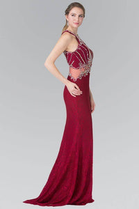 Elizabeth K GL2275 Beaded Lace Halter Neck Illusion Waist Long Dress in Burgundy