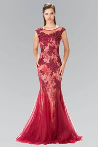 Elizabeth K GL2276 Floral Embroidered Lace and Tulle Full Length Gown in Burgundy - SohoGirl.com