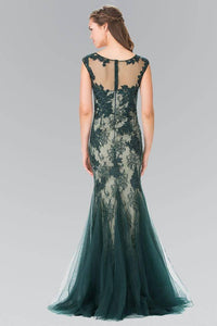 Elizabeth K GL2276 Floral Embroidered Lace and Tulle Full Length Gown in Green