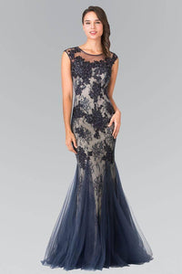 Elizabeth K GL2276 Floral Embroidered Lace and Tulle Full Length Gown in Navy - SohoGirl.com