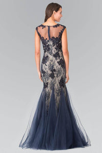 Elizabeth K GL2276 Floral Embroidered Lace and Tulle Full Length Gown in Navy