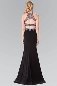 Elizabeth K GL2277 Colorful Beads Embellished Two Piece with Side Slit Dress in Black