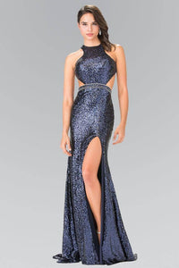 Elizabeth K GL2278 Full Sequined Halter Dress with Side Slit in Navy - pallawashop.com