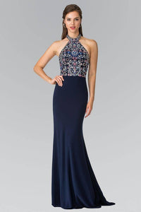 Elizabeth K GL2279 Multi Colored Beaded Halter Neck Dress in Navy