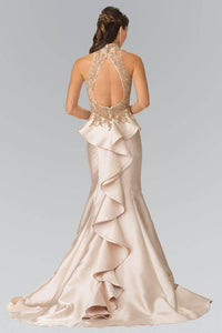 Elizabeth K GL2280 High Neck Illusion Sweetheart Peplum Long Train Dress in Champagne