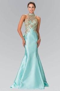 Elizabeth K GL2280 High Neck Illusion Sweetheart Peplum Long Train Dress in Tiffany