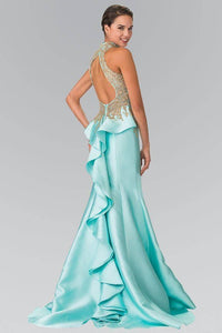 Elizabeth K GL2280 High Neck Illusion Sweetheart Peplum Long Train Dress in Tiffany - SohoGirl.com