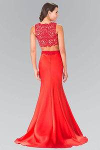Elizabeth K GL2281 Two Piece Lace Top and Satin Skirt in Red - SohoGirl.com